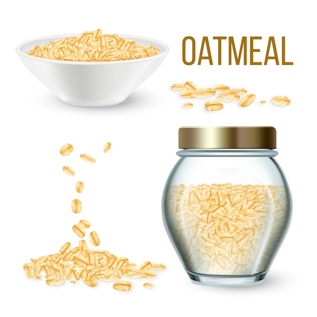 Oatmeal cereal in bowl and bottle Premium Vector