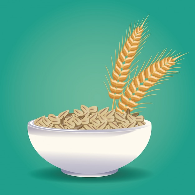 Oatmeal healthy food Premium Vector