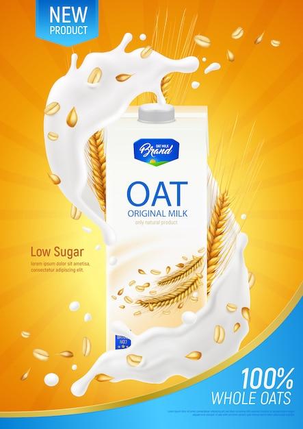 Реалистичный плакат с овсяным молоком как рекламная иллюстрация оригинального органического продукта без молочных продуктов и сахара Бесплатные векторы