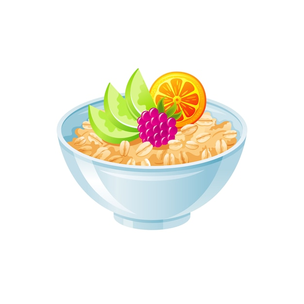 Овсяная чаша. сладкая овсяная каша с ягодами, фруктами. здоровая чашка для завтрака, овсяная каша. Premium векторы