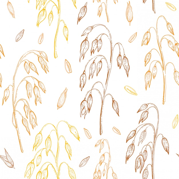 Овсяная картина. овсянка бесшовный фон. иллюстрация ушей зерна хлопьев. ручной обращается старинный орнамент с соломой, урожай, семена. эскиз линии гравировки искусства изолирован Premium векторы