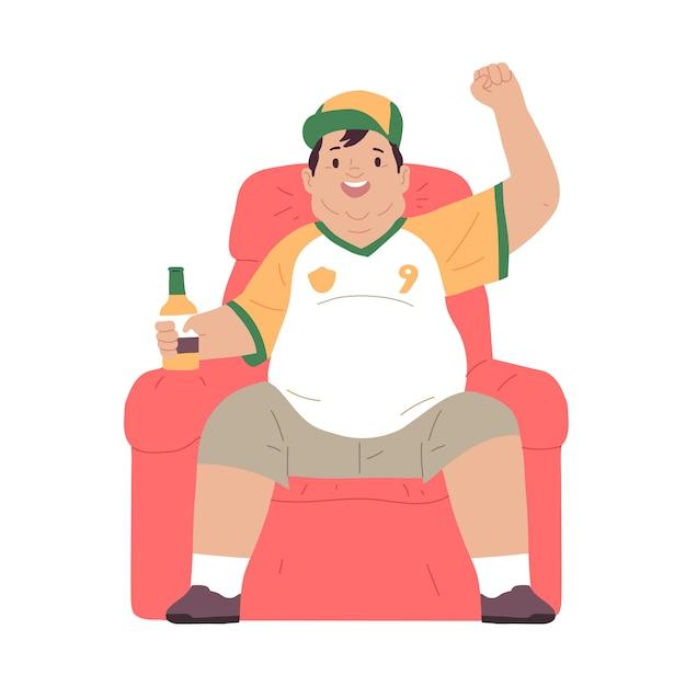 肥満男はソファに座ってビールを飲みながらテレビを見て Premiumベクター