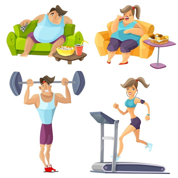 Obesity and health set Free Vector