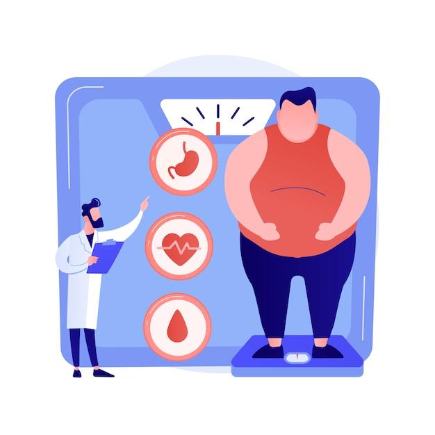 Проблема ожирения. консультация врача и диагностика полных мужчин. негативное влияние ожирения на здоровье человека и внутренние органы. векторная иллюстрация изолированных концепции метафоры Бесплатные векторы