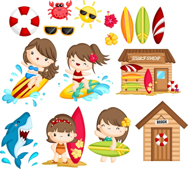 Object and activities related to woman surfing Premium Vector