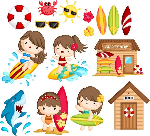 女性サーフィンに関連するオブジェクトとアクティビティ Premiumベクター