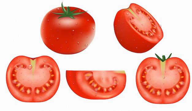 オブジェクト、新鮮な赤いトマトのセット Premiumベクター