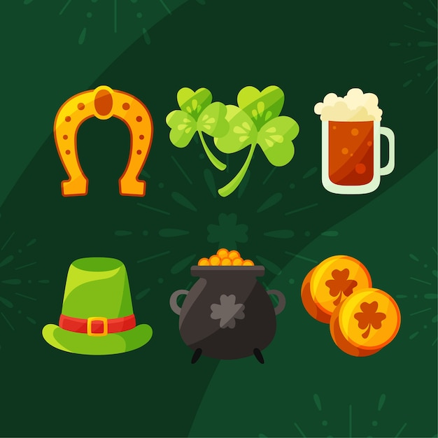 Objects and beverage st. patrick's day elements Free Vector