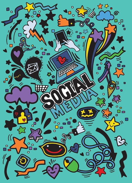 Objects and symbols on the social media element Premium Vector