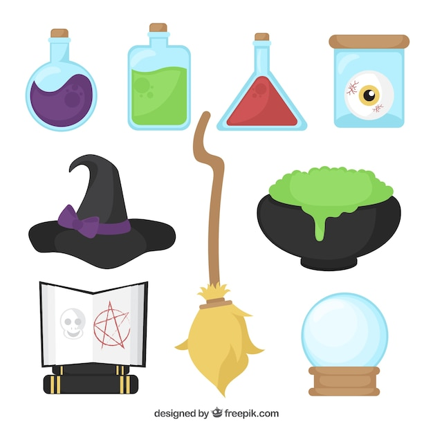 Objects in a witch's lab Free Vector