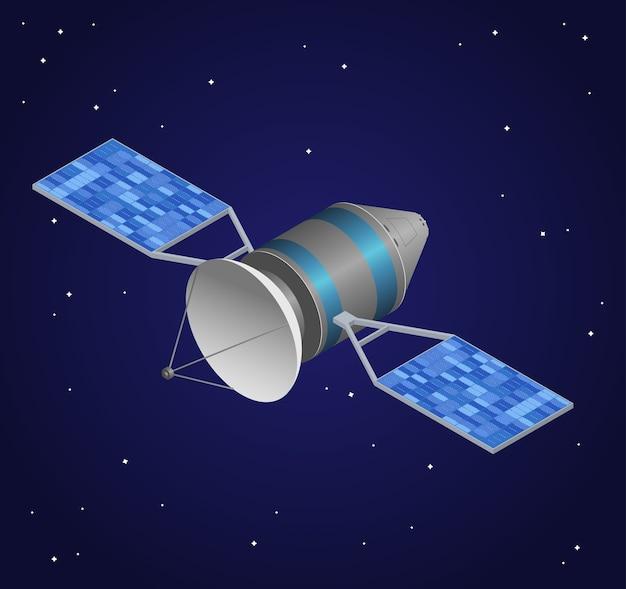 Спутник наблюдения на фоне ночного неба. беспроводная технология. Premium векторы