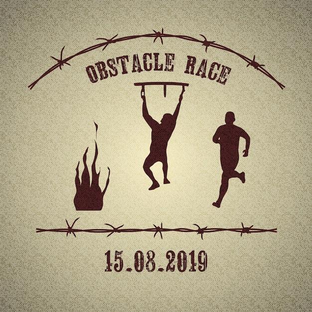 Obstacle race logo Premium Vector