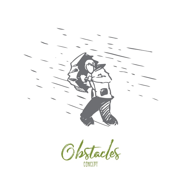 Obstacles, difficulties, problems concept. hand drawn man with umbrella and rain as symbol of difficulties concept sketch. Premium Vector