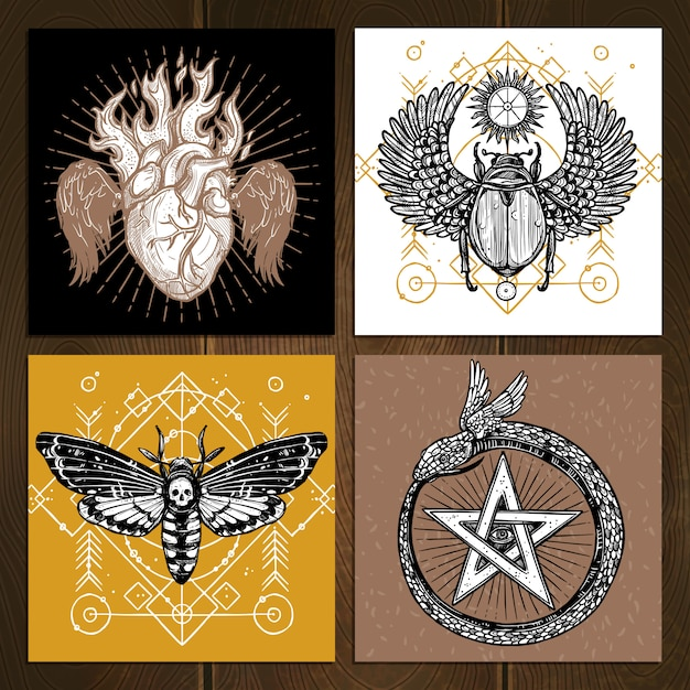 Occult tattoo set Free Vector
