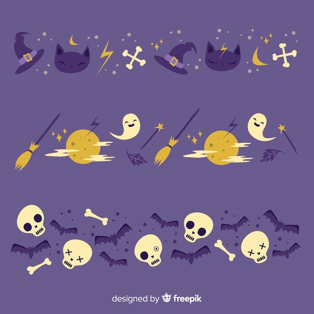 Occultist and full moon night halloween border Free Vector