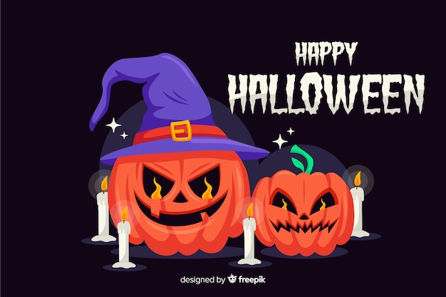 Occultist pumpkins with candles background Free Vector