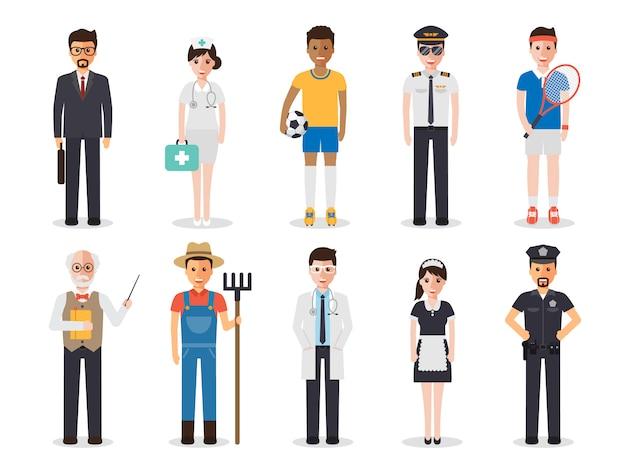 Occupation profession people. Premium Vector