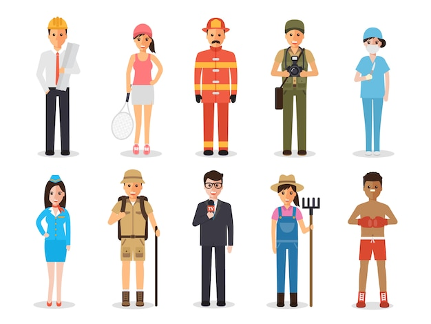 Occupation profession people. Premium Vector