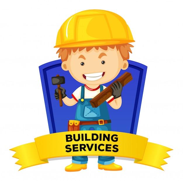 建築サービスを伴う職業のワードカード 無料ベクター