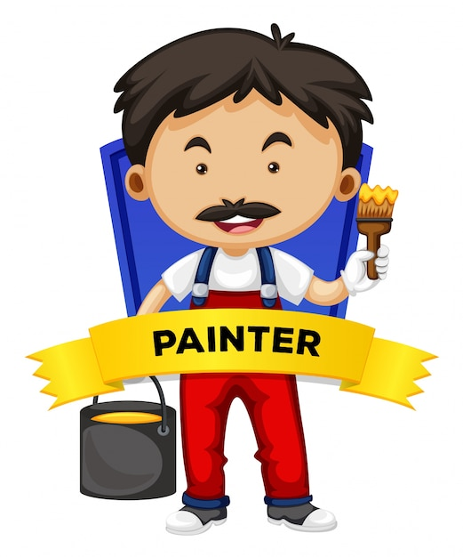 Occupation wordcard with painter Free Vector