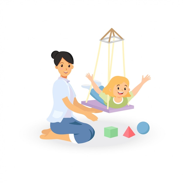 Occupational therapy treatment session for child development screening. Premium Vector
