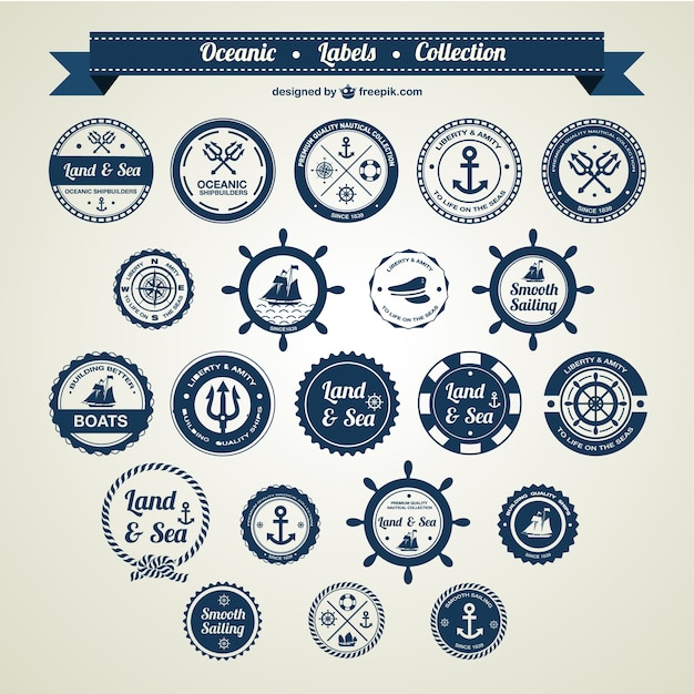 Ocean and sea nautical badges  Free Vector