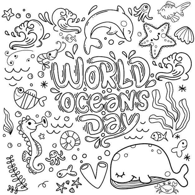 Ocean animal and plant doodle world's ocean day background Premium Vector