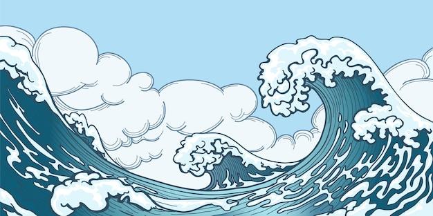 Большая волна океана в японском стиле. плеск воды, грозовое пространство, погодная природа. ручной обращается большая волна векторные иллюстрации Бесплатные векторы
