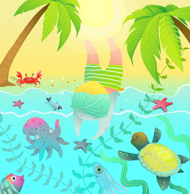 Ocean creatures palm trees and cute baby boy jumping into water with ocean sea creatures. Premium Vector
