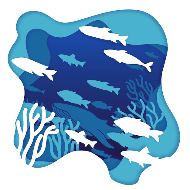 Экологическая концепция океана в стиле бумаги Бесплатные векторы