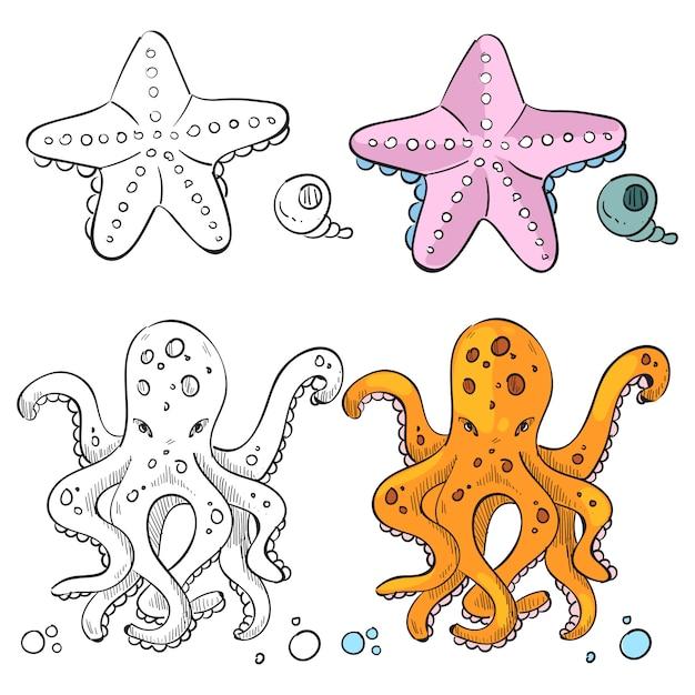 Ocean life coloring Premium Vector