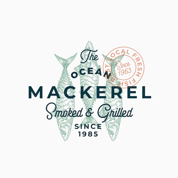 Ocean mackerel smoked and grilled. abstract  sign, symbol or logo template. Free Vector