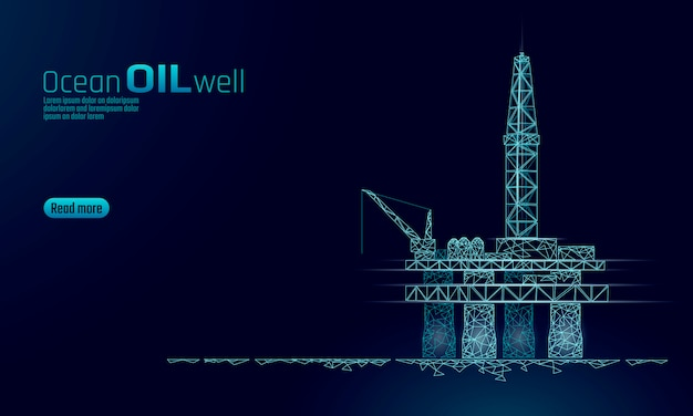 Ocean oil gas drilling rig low poly business concept. finance economy polygonal petrol production. petroleum fuel industry offshore extraction derricks line connection dots blue vector illustration Premium Vector