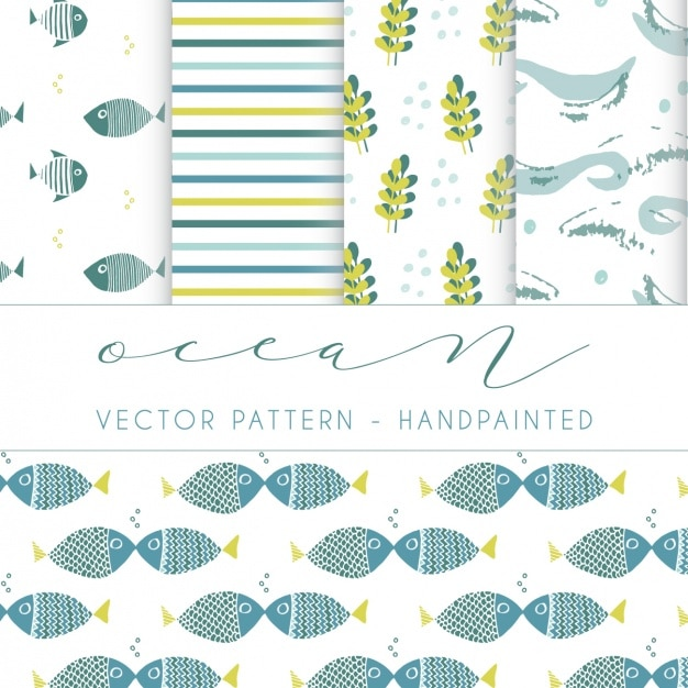 Ocean patterns collection Free Vector