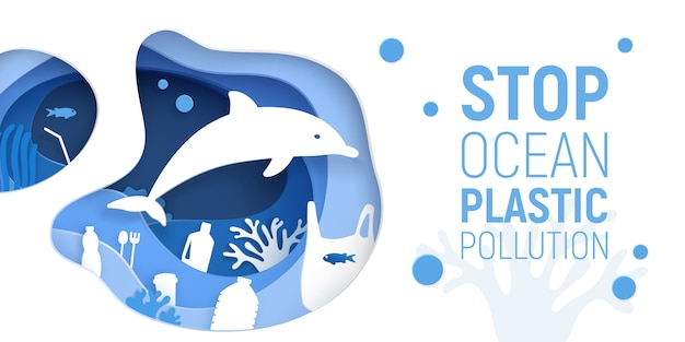 Ocean plastic pollution. paper cut underwater background with plastic rubbish, dolphin and coral reefs. Premium Vector