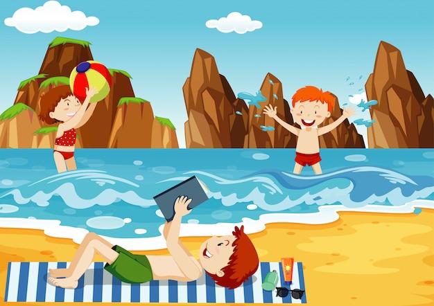 Ocean scene with people having fun on the beach Free Vector