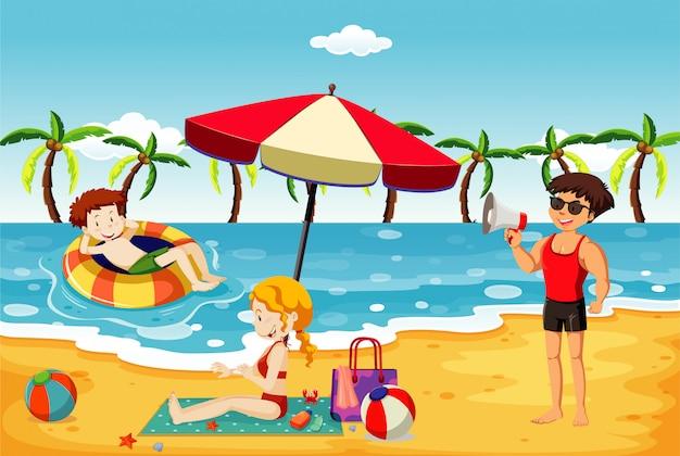 사람들이 해변에서 재미와 바다 장면 무료 벡터