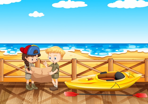 Ocean scene with two kids reading map Free Vector