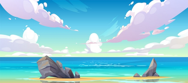 Ocean or sea beach nature tranquil landscape. Free Vector
