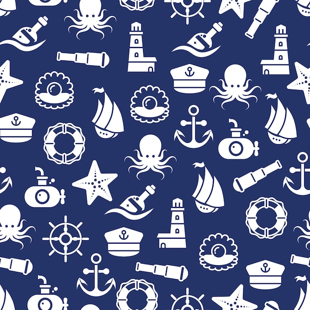 Ocean or sea seamless pattern with anchor boat bottle shell octopus Premium Vector