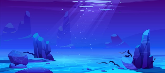 Ocean or sea underwater background. empty bottom Free Vector