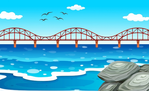 Ocean view with the bridge Free Vector