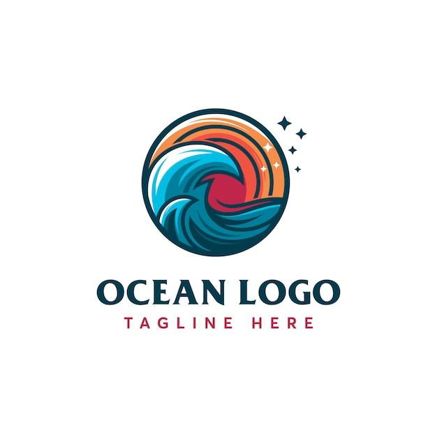 Шаблон логотипа ocean Premium векторы