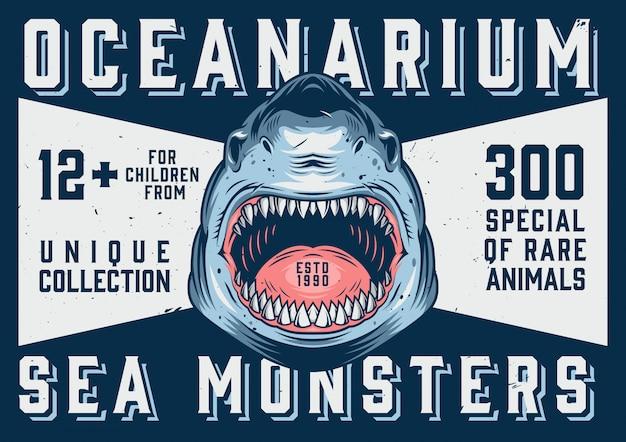 Oceanarium advertising horizontal template Premium Vector