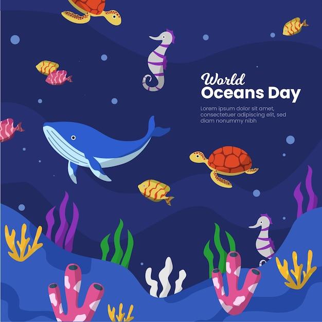 Дизайн шаблона событий дня мирового океана Бесплатные векторы