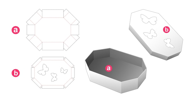 Octagonal box and lid with butterfly windows die cut template Premium Vector