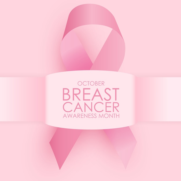 October breast cancer awareness month concept . pink ribbon sign Premium Vector
