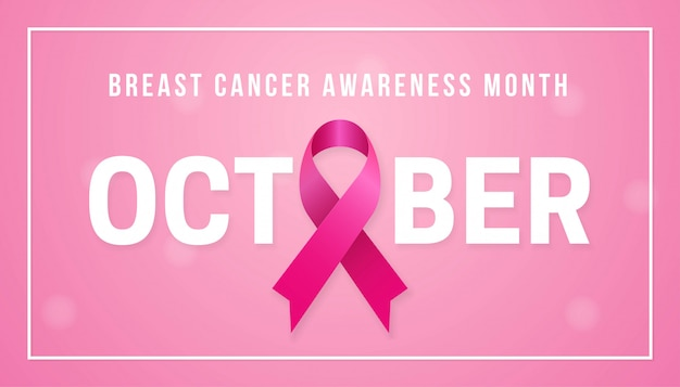 October breast cancer awareness month poster background concept Premium Vector