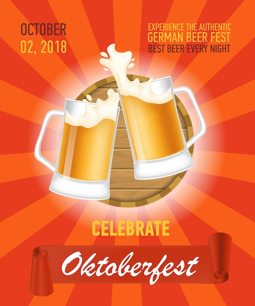 Octoberfest, authentic beer poster design Free Vector