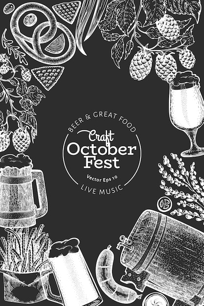 Octoberfest design template. vector hand drawn illustrations on chalk board. greeting beer festival card in retro style. Premium Vector